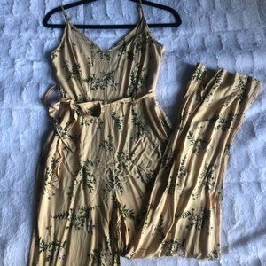 Yellow Floral Full Legnth Romper/Jumpsuit